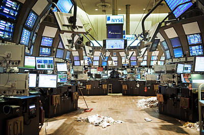 High Technology Devices Photograph - The Empty Stock Exchange Floor by Justin Guariglia