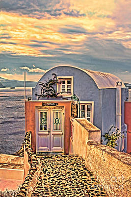 The End Unit Santorini Greece Art Print by Tom Prendergast
