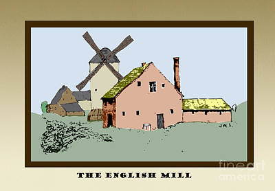 Drawing - The English Mill by Donna Munro