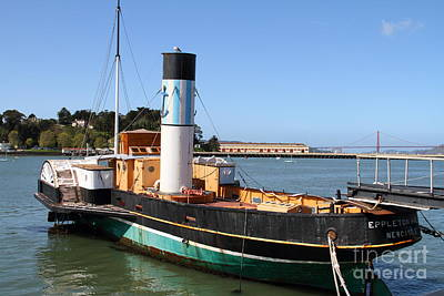 Steamboat Photograph - The Eppleton Hall . A 1914 Steam Sidewheeler Tug Boat At The Hyde Street Pier In Sf . 7d14123 by Wingsdomain Art and Photography