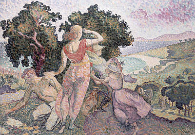 Admiring The View Painting - The Excursionists by Henri-Edmond Cross