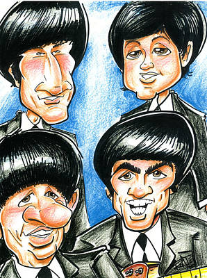 Fab Four Drawing - The Fab Four by Big Mike Roate
