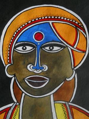 Indian Tribal Art Painting - The Face by Paritosh Pal