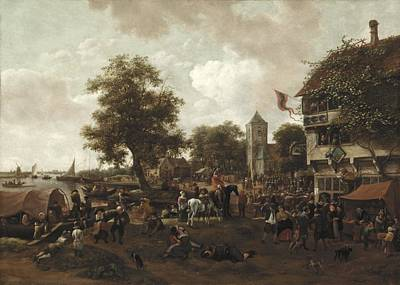Cloudy Painting - The Fair At Oegstgeest by Jan Havicksz  Steen