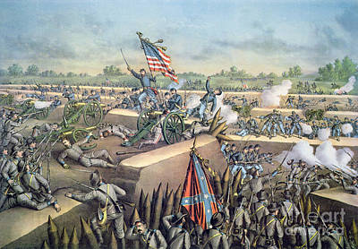 Cannons Painting - The Fall Of Petersburg To The Union Army 2nd April 1965 by American School