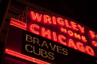 Photograph - The Famous Wrigley Field Sign by Anthony Doudt