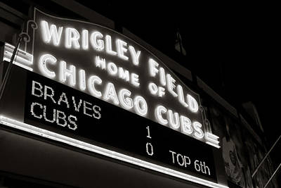 Photograph - The Famous Wrigley Field Sign In Black And White by Anthony Doudt