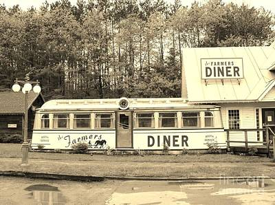 Art Print featuring the photograph The Farmers Diner In Sepia by Sherman Perry