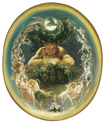 Faun Painting - The Faun And The Fairies by Daniel Maclise