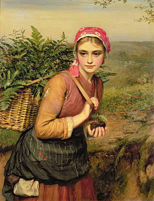 Tree Root Painting - The Fern Gatherer by Charles Sillem Lidderdale