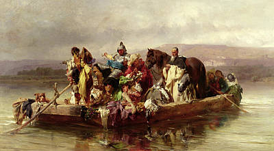 River Rafting Painting - The Ferry  by Johann Till