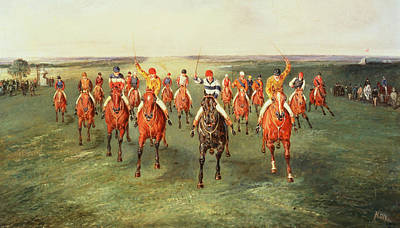 Race Horse Painting - The Finish Of The Two Thousand Guineas At Newmarket by Samuel Henry Alken