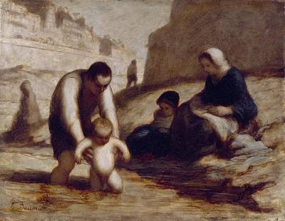 Caring Mother Painting - The First Bath  by Honore Daumier