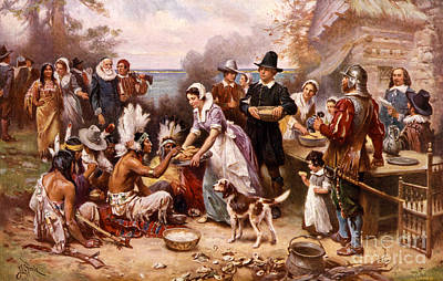 Banquet Photograph - The First Thanksgiving 1621 by Photo Researchers