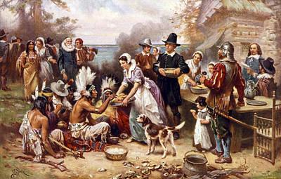 The First Thanksgiving, 1621, Pilgrims Art Print