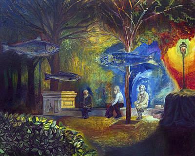 Surrealistic Painting - The Fisherman Of Memories by Fernando Alvarez