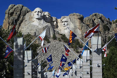 Photograph - The Flags Of Mount Rushmore by Paul Svensen