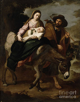 Child Jesus Painting - The Flight Into Egypt by Bartolome Esteban Murillo