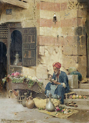 Stall Painting - The Flower Seller by Raphael von Ambros