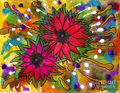 Painting - The Flowers In My Son's Garden by Angela L Walker