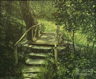 Comedian Drawings - The Footbridge by Michael John Cavanagh