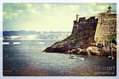 The Fort On The Harbor - La Coruna Art Print by Mary Machare