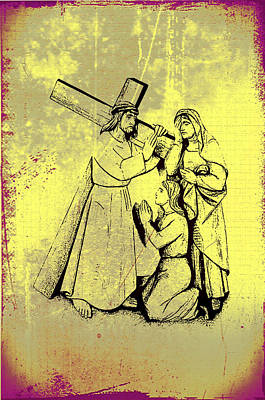 The Fourth Station Of The Cross - Jesus Meets His Mother Art Print by Bill Cannon