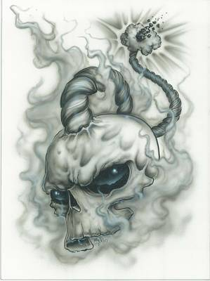 Airbrush Painting - The Fuse Is Lit In Gray by Mike Royal