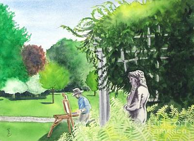 Art Print featuring the painting the garden at the wellers carriage house in Saline  Michigan 1 by Yoshiko Mishina