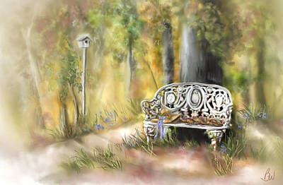 Art Print featuring the painting The Garden Bench by Bonnie Willis