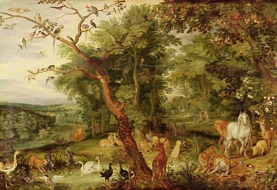 Of Pig Painting - The Garden Of Eden by Jan the Elder Brueghel