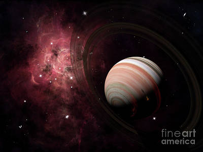 The Gas Giant Carter Orbited By Its Two Art Print by Brian Christensen