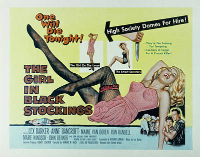 1957 Movies Photograph - The Girl In Black Stockings, Mamie Van by Everett