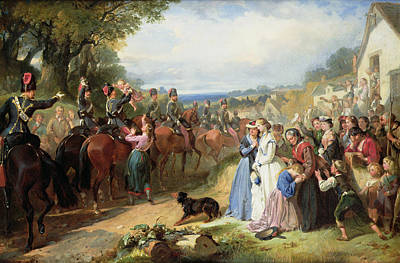 Farewell Painting - The Girls We Left Behind Us - The Departure Of The 11th Hussars For India by Thomas Jones Barker