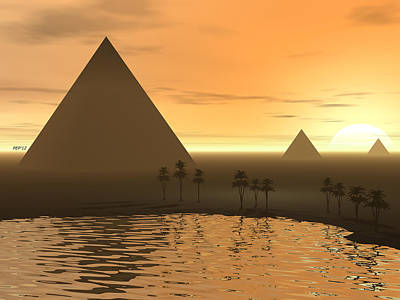 Print featuring the digital art The Giza Necropolis by Phil Perkins