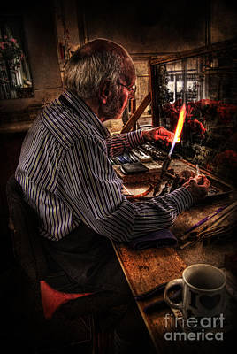 Artist Working Photograph - The Glass Sculptor by Yhun Suarez