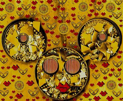 Mouse Mixed Media - The Global Mickey Mouse In Gold Color by Pepita Selles