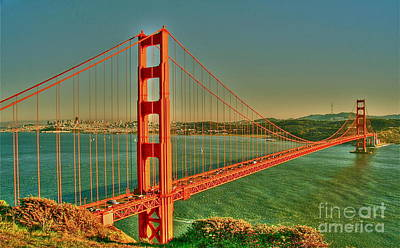 Sausalito Digital Art - The Golden Gate Bridge Summer by Alberta Brown Buller