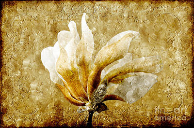 Mixed Media - The Golden Magnolia by Andee Design