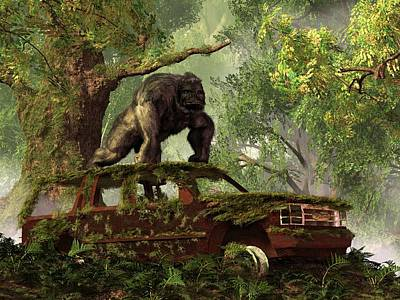 Animals Digital Art - The Gorillas SUV by Daniel Eskridge
