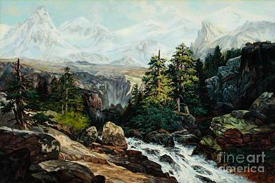 The Grand Tetons By Thomas Moran Study By W Scott Fenton Art Print by W  Scott Fenton