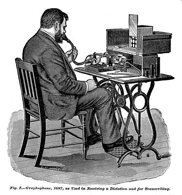 Dictaphones Photograph - The Graphophone, An Early Dictaphone by Everett