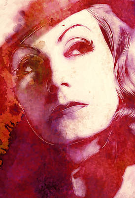 Movie Star Classic Movie Painting - The Great Garbo by Steve K