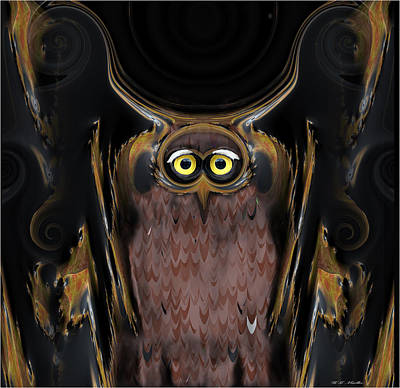 Great Mixed Media - The Great Horned Owl Abstract  by Heinz G Mielke