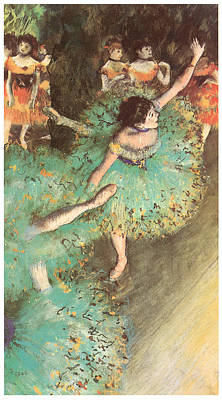 The Green Dancer Art Print by Edgar Degas