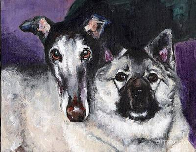 Greyhound Painting - The Grey And The Keeshond by Frances Marino