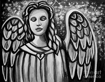 Cemetary Mixed Media - The Guardian Angel - In Black And White by Elizabeth Robinette Tyndall