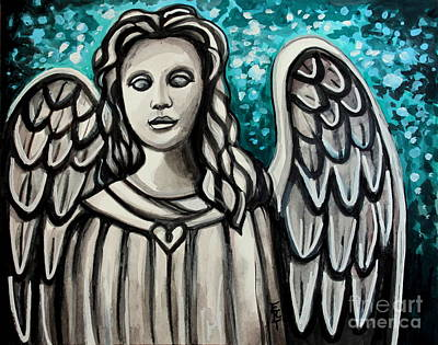 Cemetary Mixed Media - The Guardian Angel by Elizabeth Robinette Tyndall