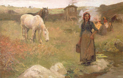 The Horse Painting - The Gypsy Camp by Harold Harvey