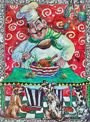 Newton Mixed Media - The Happy Chef by Li Newton